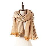 Natural Feelings Huge Contrast Color Stripe Fringe Women Winter Scarf Wrap Shawl