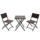 Naturefun Outdoor Balcony Foldable Bistro Furniture Sets, Wood-Like Resin Rattan, Rust-Proof Steel Frames, 3-Piece of Foldable Table and Chairs