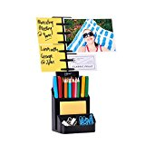 NoteTower Desktop Organizer Black - Note & Desk Supplies Caddy - Holds and Displays Photos Sticky Notes Business Cards + BONUS 50 Sheets 3x3 Sticky Notes