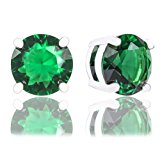 ORROUS & CO 18K Gold Plated Cubic Zirconia Solitaire Stud Earrings, Round, Emerald