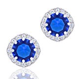ORROUS & CO Legacy Collection 18K Gold Plated Cubic Zirconia Cushion Shape Halo Stud Earrings, White