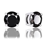 ORROUS & CO Legacy Collection 18K White Gold Plated Round Cubic Zirconia Solitaire Stud Earrings, Onyx