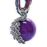 Odette Mother's Day Gift Vintage Bohemia Style Phoenix Peacock Crystal Diamond Opal Pendant Necklace