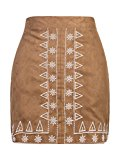 PERSUN Women's Brown Faux Suede Embroidery Pattern A-line Pencil Mini Party Skirt,Small