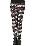 PERSUN Women's Nordic Reindeer Snowflake Printed Leggings Lined Stretchy Pants,Red