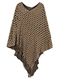 PERSUN Women's V-neck Asymmetric Tassel Poncho Cape Jumper Cover-up Cardigan,Brown
