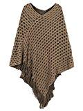 PERSUN Women's V-neck Asymmetric Tassel Poncho Cape Jumper Cover-up Cardigan,Brown