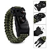 Paracord Survival Bracelet 500 LB - Outdoor Hiking Travelling Camping Gear Kit - 12 in 1 Parachute Rope Bracelet - Compass,Thermometer,Whistle,Screwdriver,Scrapper,Wrench,Bottle Opener -Military Color