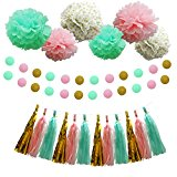 Party Decoration Kit - 20 Pcs Pink Mint Tissue Paper Poms Polka Dot Garlands Hanging Tassels for Birthday Party / Wedding / Bay Shower