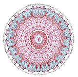Peach Couture Roundie Beach Towel Yoga Mats Thick Terry Cotton with Fringe Tassels - Many Designs & Colors Light Pink