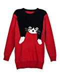 Persun Red Women's Long Sleeve Cat Intarsia Knit Jumper Sweater,One Size