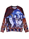 Persun Women's 3D Cats Print Crewneck Long Sleeve Sweatshirt, L