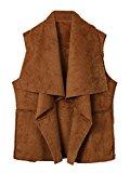 Persun Women's Beige Suedette Open Front Waistcoat Vest Jacket Cardigan,6,Khaki