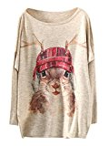 Persun Women's Color Block Cute Antlers Squirrel Print Bat Sleeve Sweatshirt