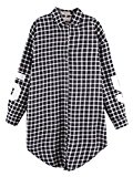 Persun Women's Cotton Plaid Long Sleeve Shirt Collar Oversized Black Shirt Blouse