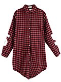 Persun Women's Cotton Plaid Long Sleeve Shirt Collar Oversized Blouse