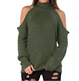 Persun Women's Green High Neck Cold Shoulder Long Sleeve Cable-knit Sweater