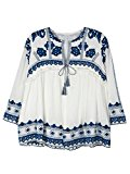 Persun Women's White Embroidery Tile Pattern Tie Front Blouse Coat Jacket Cardigan