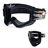 Picador Detachable Motorcycle Goggles with Mask Skull UV Motorbike Glasses (Clear Lens)