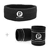 Picador Sweatband Set for Sports Basketball /Football /Volleyball/Yoga /Pilate Running Outdoor Activities (3-Pack: 2 Wristbands & 1 Headband) (Black)