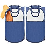 Pop-Up Laundry Hamper, MaidMAX Foldable Mesh Hamper with Reinforced Carry Handles, Blue, 2-Pack, Updated Version