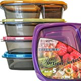 Meal Prep Containers 3 Compartment Lunch Boxes, Set of 5 Food Storage Containers with Lids, BPA Free Plastic Bento Box, Portion Control Divided Cover, Reusable, Microwave Dishwasher Freezer Safe