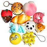 PoshPeanut Kawaii Squishies Cute Plush Japanese Accessories Set of 10