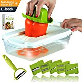 Premium Adjustable Mandoline Slicer - Vegetable Slicer with 5 Stainless Steel Blades in Storage Box, Holder, Container with Lid, plus Peeler and Ebook, Easy to Use Julienne Food Slicer by NioChef