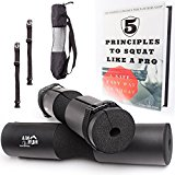 Premium HERO Barbell Squat Pad + 2 Quick Release Straps + Bag + eBook| For Squats, Weight Lifting, Cross-Fit or any workout routine - Fit All Bars Sizes - Shoulder Pain Pressure Reliever|Titanium Peak