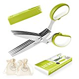 Premium Herb Scissors Set by Chefast - Perfect Kitchen Gadget for Food Lovers - Includes Chopper / Cutter Shears with 5 Stainless Steel Blades, 2 Drawstring Bags & Safety Cover with a Cleaning Comb