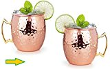 Premium Moscow Mule Copper Mugs With Nickle Lining - Mule Mug Set of 2, Solid Pure Copper Mule Cups 16-Ounce W/ Bonus 2 Copper Straws and Matchless Recipe Ebook By Original Copper Mug Company