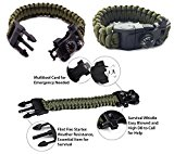 Premium Quality Paracord Survival Bracelet - Best Safety and Survival Band For Camping and Hiking - 12-in-1 Features Like Compass, Thermometer, Knife, Fire Starter, Emergency Whistle, and More