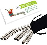 Premium Stainless Steel Drinking Straws by Chefast - 3x2 Combo Pack - Reusable Metal Straws For Everything From 30 oz Yeti Tumblers to Super Thick Smoothies - 2 Cleaners, Long Case & Gift Box Included