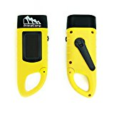 PrimalCamp Camping Gear Solar Powered Hand Crank Flashlight: Rechargeable LED Self Powered Flashlight & Dynamo with Carabiner Clip - Best for Fishing Boating Hiking Backpacking Survival