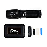 PrimalCamp Survival Gear Tactical LED Flashlight Torch: 800 Lumens High Powered Rechargeable Strobe Flashlight For Camping Gear Fishing Biking Hiking First Aid & Emergency