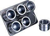 Pro Chef Kitchen Tools Stainless Steel Magnetic Spice Rack - 6 Piece Set With Adjustable Metal Stand To Organize and Hold Spices, Dried Herbs, Crafts, Sewing and Other Hard To Store Small Items