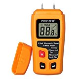 Proster Digital Wood Moisture Meter Handheld LCD Moisture Tester Damp Moisture Tester Detector with 2 Test Probe Pins for Walls Firewood Paper Humidity Measuring