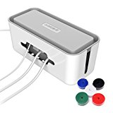 QICENT Cord Organizer Box for Power Strips,adapters, USB Hubs, Surge Protector, TV/Computer Cable,12.2x5.43x5.18 Inches Large with 2 Cable Ties for random (white)