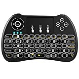 QPAU Wireless Mini Keyboard H9 Backlight 2.4GHz Multi-media Remote Keyboard Controller Portable Touchpad Keyboard Black