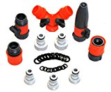 RAAYA Hose Splitter Connectors Set Bundle with Nozzle - Shut Off Valve and 20 Rubber Washers