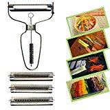 RAAYA JULIENNE VEGETABLE PEELER - High Quality Stainless Steel Vegetable Cutter and Fruit Slicer - Dual Blade with Cleaning Brush - Safe Lightweight, Durable & Dishwasher Safe - Maximum Satisfaction