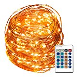 REMZES Starry String Lights: 33 Foot Copper Wire Strand with 100 LED Lights, Remote, AC Adapter, plus LED Tea Candle and LED Balloon Light