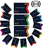 RFID Blocking Sleeves, Set of 15 With Color Coding | Identity Theft Prevention RFID Blocking Sleeves by Boxiki Travel | 12x Credit Card Holder + 3x Passport Protector (Navy Blue)