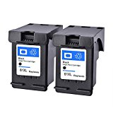 Remanufactured HP 61 61XL  Black Ink Cartridges Replacement 2 Pack  CH563WN  High Yield