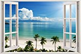 Removable Wall Decals - Huge Vinyl Mural - 3D Window view Stickers - Large Nature Poster 33.5