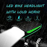 Rico Lighting Bike LED Headlight With 120db Loud Horn, USB Rechargeable Waterproof LED Headlight