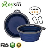 Roysili Large Size Collapsible Dog Bowl (5 Cups,40oz), FDA Approved BPA Free Silicone Travel Bowl for Dog Cat Food & Water, Foldable Expandable Portable Travel Cup Free Carabiner Blue