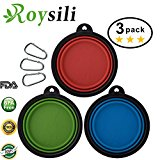 Roysili Small Size Collapsible Dog Bowl (1.5 Cups,12oz), BPA Free Silicone Travel Bowl for Dog Cat Food & Water, Expandable Portable Travel Cup Free Carabiner Small-3Pack(Blue+Green+Red)