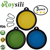 Roysili Small Size Collapsible Dog Bowl (1.5 Cups,12oz), BPA Free Silicone Travel Bowl for Dog Cat Food & Water, Expandable Portable Travel Cup Free Carabiner Small-3Pack(Blue+Green+Yellow)