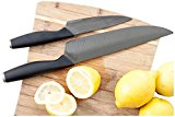 SCANDI Ceramic Lead-free Sharp Knife Set. Practical 8 inch & 5 inch Unique Size Chef Knives Set. Black Blades with Fitted Sheaths in Gift Box.